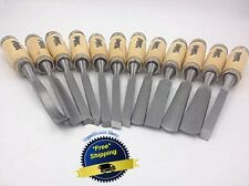 12 Pc Chisel Set Gouge Chisels Wood Carving Tools Woodworking Sharp Engrave Hand