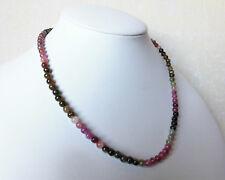 Edelsteinkette Natur Turmalin 42-44 cm Halskette 5mm Perlen Collier -True Gems