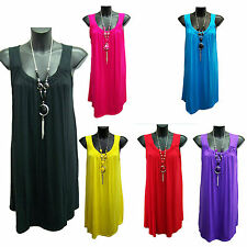 Woman's Sleeveless Summer 2016 Tunic Top With Necklace Sizes 12, 14,16,18,20