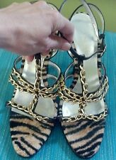 Escada heels sz 10 or 40 1/2 brown, gold chain, strappy EXCELLENT CONDITION