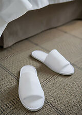 BULK 100x TERRY TOWELLING WHITE GUEST/ SPA/ HOTEL SLIPPERS, 5 STAR HOTEL QUALITY