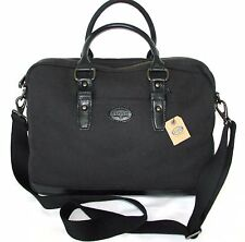NEW FOSSIL BLACK CANVAS+LEATHER DILLON CASE,SIMPLE WORK BRIEFCASE,CROSS BODY,BAG
