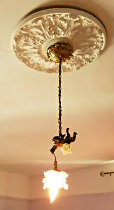 FRENCH LUSTRE CHANDELIER CEILING ONE LIGHT ANGEL/ CHERUB/PUTTI ROSE SHADE 1950-