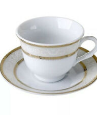 12 Pcs Gold Wreath Design  Espresso/Coffee Cup/Saucer Set For 6 Persons