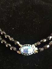 Estate Vintage Necklace 2 Strand  Black Glass Crystal Bead with Rhinestone   22""