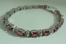 Glieder-Armband 925 Silber Rubin Edelsteine Schmuck Diamant Brillant-Schliff