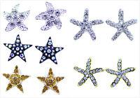 Super cute crystal star / starfish stud earrings multiple choices