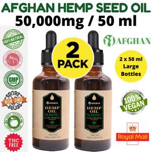 2 x Pack Afghan Hemp Seed Oil 50,000mg / 50ml , 100% Organic & UK Lab Tested ✅