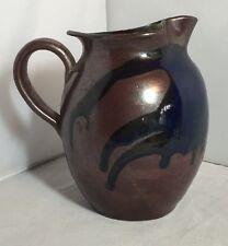 Vintage French Arts & Crafts Handmade Pottery Jug Beautiful Glaze