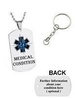Medical Alert Army Pendant Necklace Emergency ID Dog Tag, Keyring, Gift - Blue 2