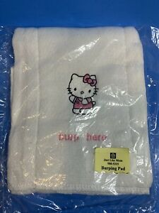 """Hello Kitty Cotton Burping Pad Burp Cloth with Embroidered Logo & """"Burp Here"""""""