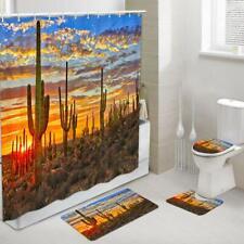 Saguaro Cactus in Sonoran Desert Fabric Shower Curtain Toilet Cover Rugs Mat Set