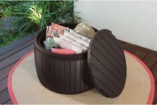 Outdoor Patio Side Table Storage Deck Box Unit Yard Garden Seat Rattan Furniture