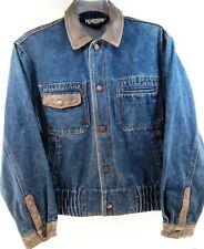 Expressions Men Denim Jacket Leather Collar & Cuffs Size M Blue Cotton Blend