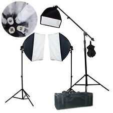 2600W Photography 3 Softbox Boom Stand Continuous Light Kit Photo Studio Video