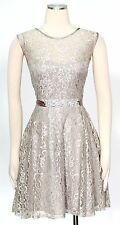 Betsy & Adam Nude Silver Dress Size 10P Shimmer Belted Jewelry Women's New*