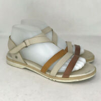 Pikolinos Womens Tan Brown Leather Strappy Sandals Flat Open Toe Sz US 7.5 EU 38
