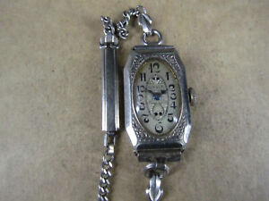 Antique Ladies Gruen Guild M Wristwatch, 15j 165/57, 14K White GF, Repair
