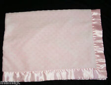 Carters Pink Raised Minky Dot Baby Blanket Satin Trim Binding