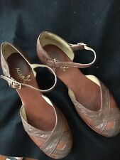 Women's Leather Tooled, Brown Wedged Southwest AGAPE Shoe EUR 39, slightly used