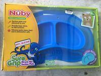 Nuby On-The-Go 3-D Silicone Feeding Bib Blue Bow Tie