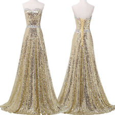 Shiny Glamour Long Gold Sequin Wedding Ball Gown Party Prom Formal Dress Elegant