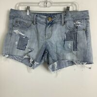 American Eagle Outfitters Women Raw Hem Patch Shorts Size 10 Blue