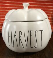 """NEW Rae Dunn 2020 """"HARVEST"""" 8 inch Large Pumpkin Canister Dish Thanksgiving Fall"""