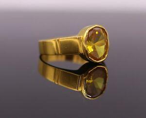 22K YELLOW GOLD FABULOUS CITRINE STONE(SUNELA) GORGEOUS RING BAND LUCKY STONE