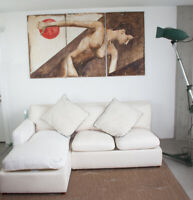 REUPHOLSTERED WHITE CANVAS SOFA L SHAPED SECTIONAL COUCH CHAISE LOUNGE