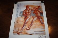 RARE! Signed Track & Field 1996 Olympics poster print art Polish Olympic Center