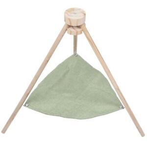 Green Wooden Swing Hanging Basket Cloth Washable Cat Hammock Pet Supplies Green