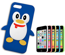 COVER CASE FLIP COMPATIBILE APPLE IPHONE 5 SILICONE MORBIDO GOMMA PINGUINO BLU