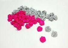 Lots 100 pcs.Pink & Silver Satin Ribbon Mini Rose Flower Head Craft Trim DIY