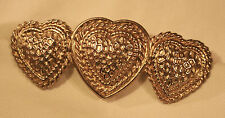 Hearts Goldtone Bar Brooch Pin Handsome Pebble-Textured Rope Accented Sculpted