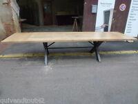 grande table à rallonges de salle à manger en fer et chêne de 3 m cuisine salon