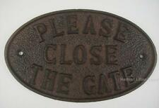 Please Close The Gate Cast Iron Sign Plaque