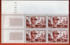 1953 - BLOC NUMEROTE 4x TIMBRES NEUF**LECLERC-KOUFA-STRASBOURG**STAMP..Y/T 942
