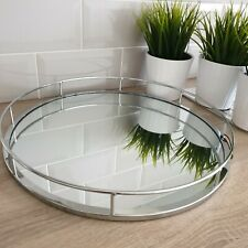38 cm Round Silver Mirror Candle Plate Decorative Tray Wedding Table Decor Plate