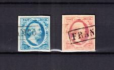 Nederland 1 en 2 Willem III 1852 gestempeld