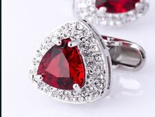 14k White Gold Over 2.16ct Triangle Red Ruby & Round Cut Diamod Shirts Cufflinks