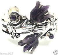 VINTAGE STYLE TAXCO MEXICAN STERLING SILVER AMETHYST TULIP CUFF BRACELET MEXICO