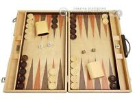 "18"" Wood Backgammon Set - Olive Burl - Classic Wooden Board Game"