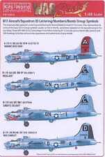 Kits World Decals 1/48 B-17 Squadron ID Bomb Group Numbers & Symbols Black