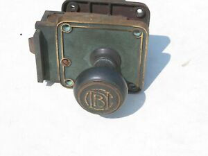 Vintage Corbin Bronze Door Knob Lock Hardware Assembly with Key 1900's