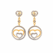 Gorgeous 0.71 Cts Round Brilliant Cut Pave Diamonds Dangle Earrings In 18K Gold