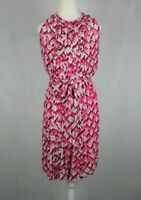 Diane Von Furstenberg Pink Floral Print Pleated Sleeveless Ria Dress Sz US  4