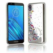 Liquid Glitter Filled Case with Unicorn Design Silver Chrome Motorola Moto E6