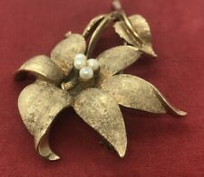 Vintage Fashion Costume Brooch Pin Signed Coro Faux Pearl Gold Tone Flower