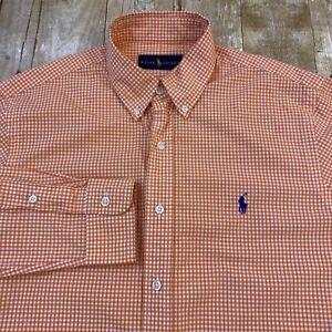 Polo Ralph Lauren Gingham Orange Long Sleeve Button Down Shirt Medium